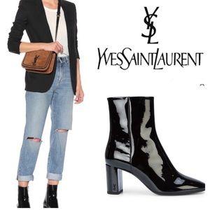 💯YSL Saint Laurent Black Patent Leather Lou Boots